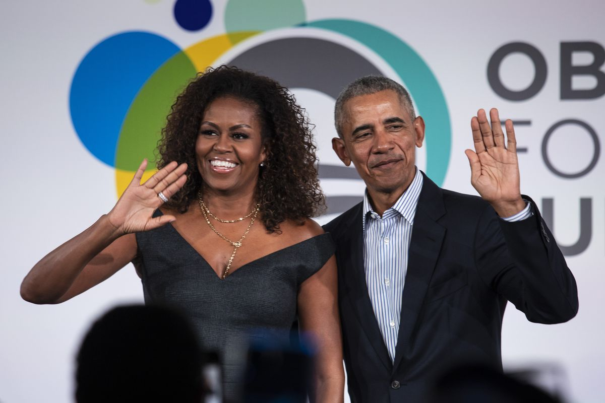 Chicago's McCormick Foundation were among the new major donors to the Obama Foundation in the first quarter of 2020. Former President Barack Obama and first lady Michelle Obama on stage at Obama Foundation Summit on Oct. 29, 2019.