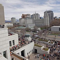 The crowd outside after The Church of Jesus Christ of Latter-day Saints' Saturday afternoon session of the 183rd Annual General Conference Saturday, April 6, 2013, in Salt Lake City.