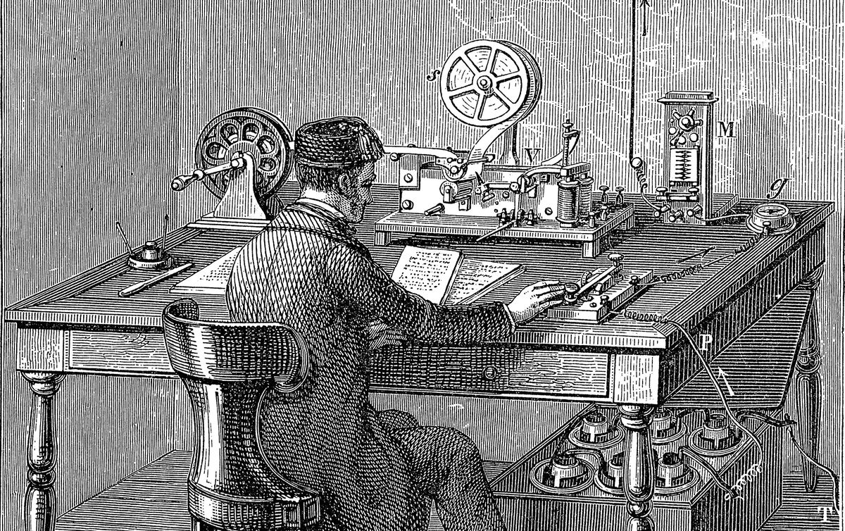A drawing of a telegraph operator in the 1880s