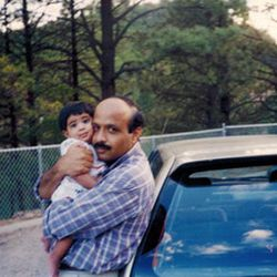 Dania Khan with her father in 1995.