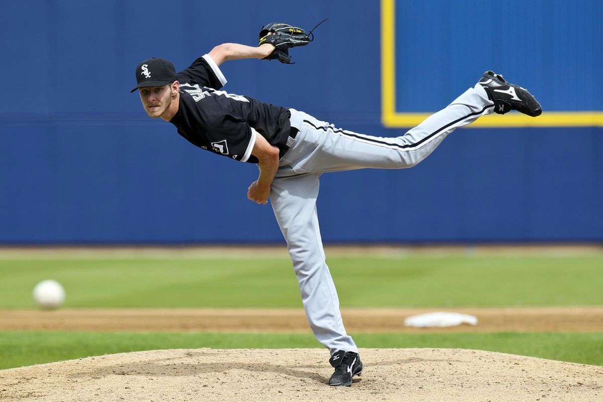 March 24, 2012; Phoenix, AZ, USA; Chicago White Sox pitcher Chris Sale (49) throws a pitch against the Milwaukee Brewers at the Maryvale Baseball Park. Mandatory Credit: James Guillory-US PRESSWIRE