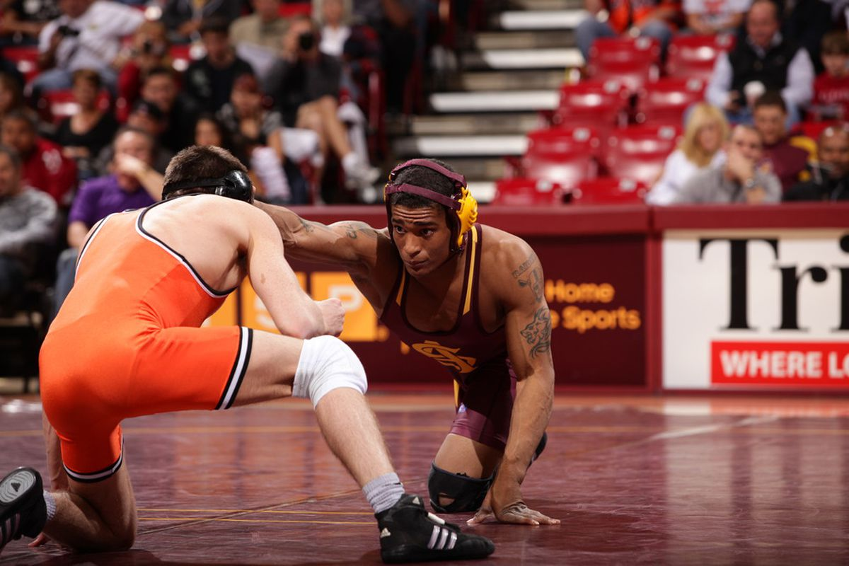 ASU's Anthony Robles in position for a move. (Courtesy of Arizona State Sports Information Dept.)