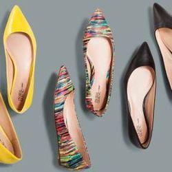 Pointy-toe flats in blazing yellow, Nolita print, and black, $29.99 each