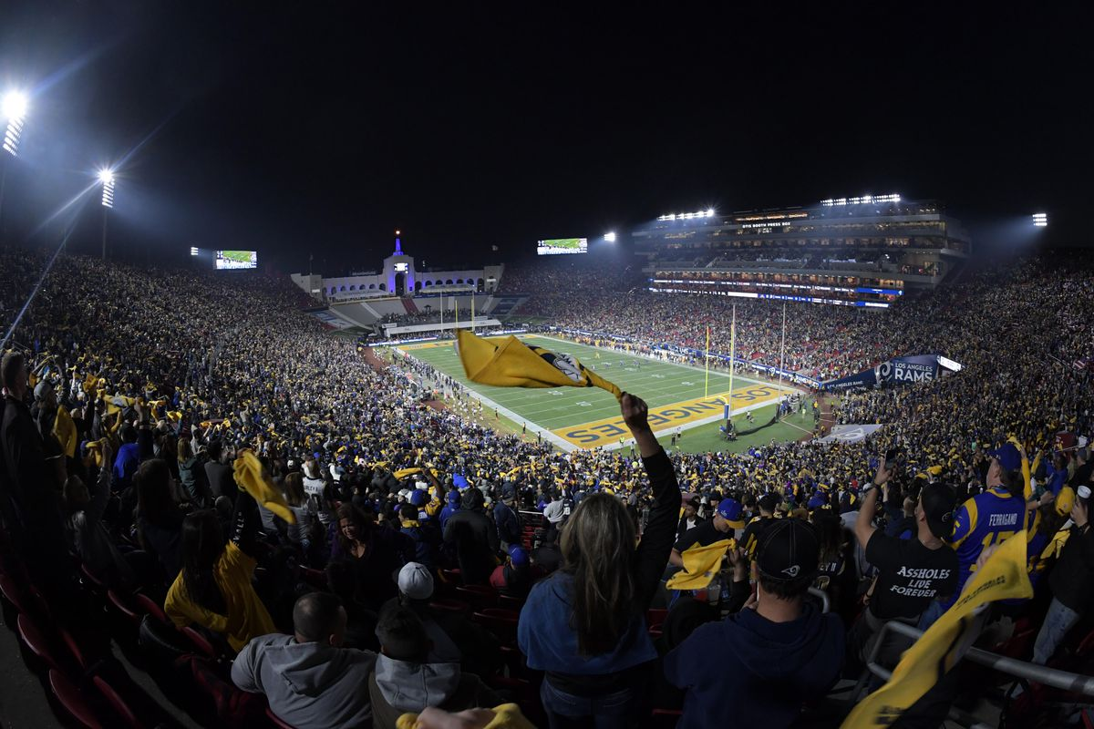 Fans during the Week 12 Monday Night Football game between the Los Angeles Rams and Baltimore Ravens, Nov. 25, 2019.