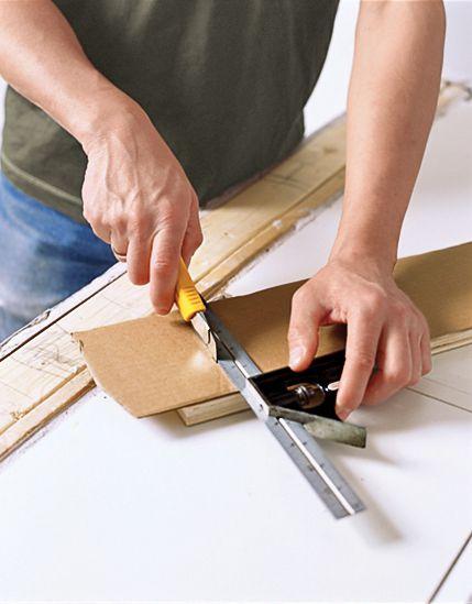 Man Makes Cardboard Template Of DIY Butcher Block Countertop