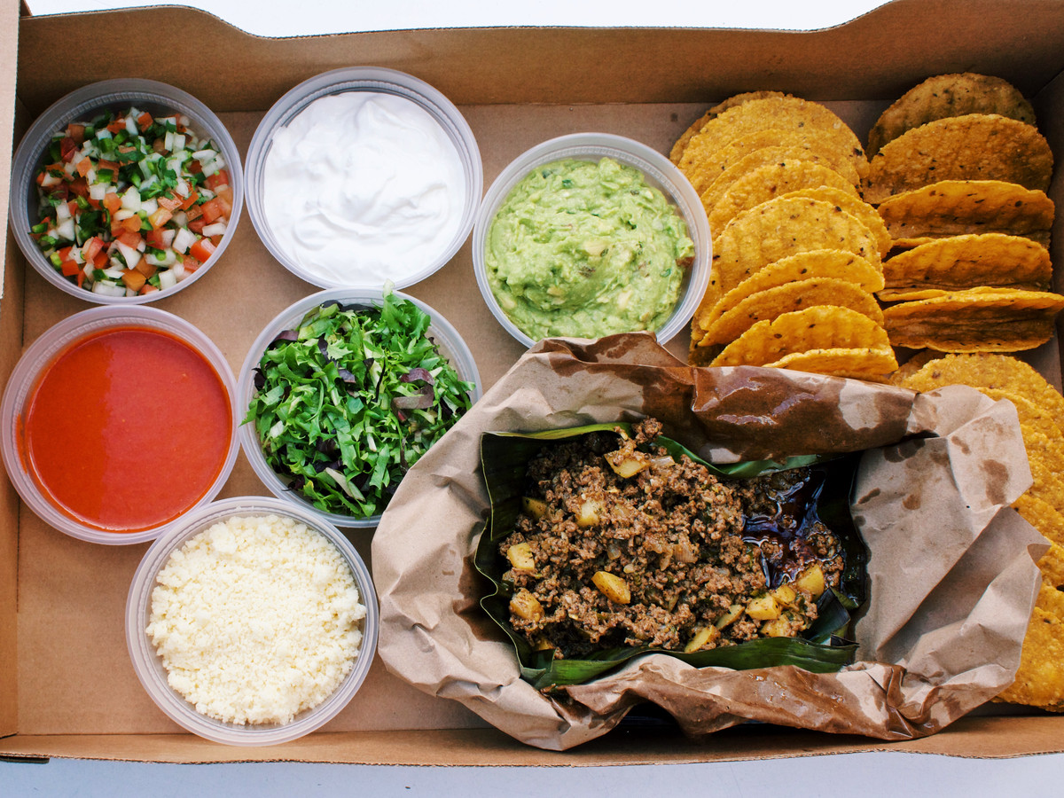 The crispy beef taco kit from La Condesa