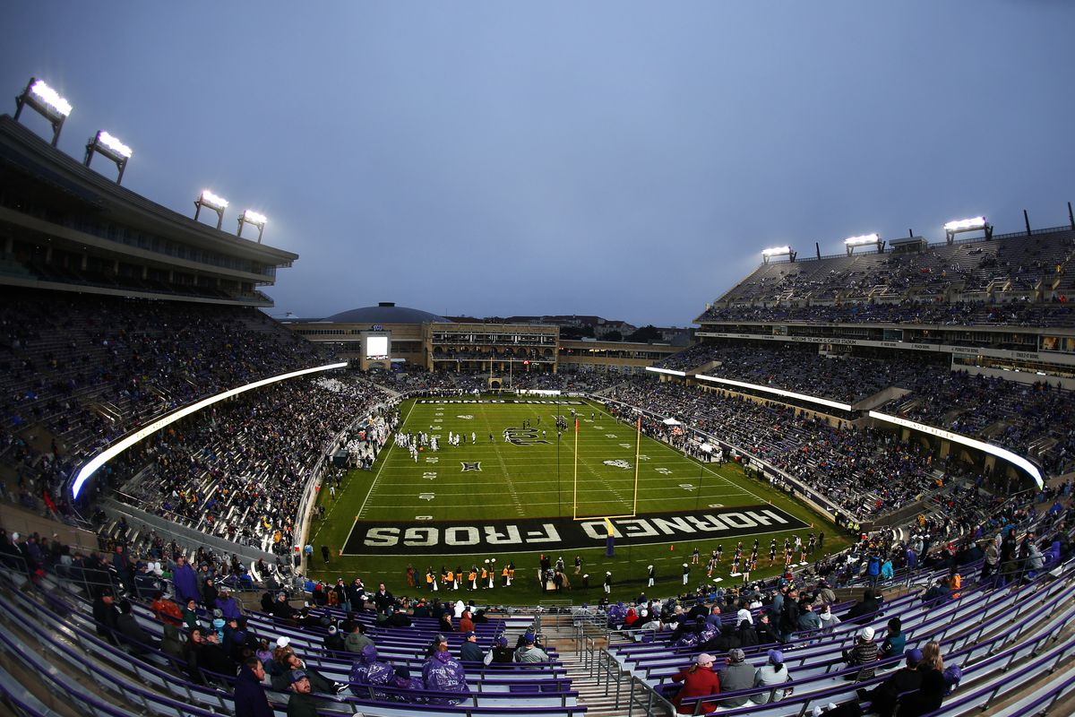 A general view of the game between the West Virginia Mountaineers and the TCU Horned Frogs in the first half at Amon G. Carter Stadium on November 29, 2019 in Fort Worth, Texas.
