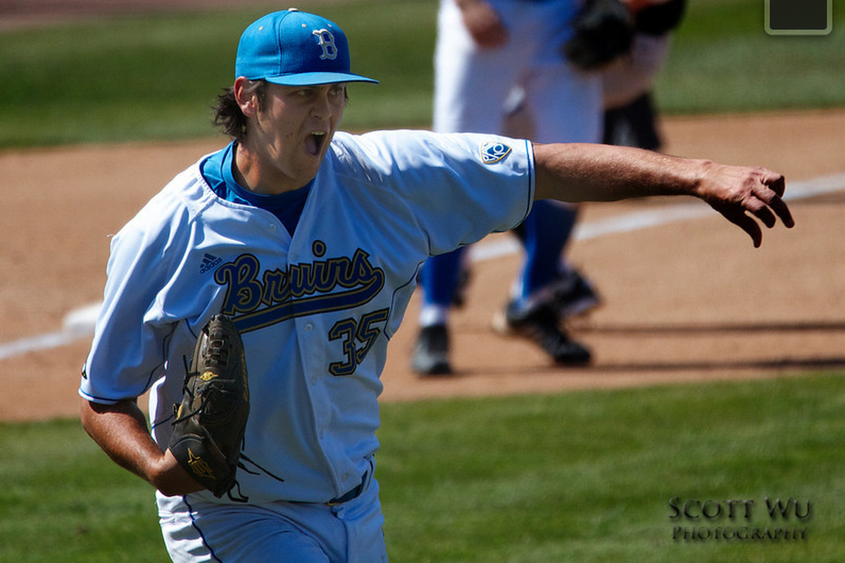 """Mitchell Beacom kept UCLA in the game, but the Bruins couldn't muster a comeback (Photo Credit: <a href=""""http://www.scottwuphotography.com/Sports/UCLA-Sports/110403UCLABaseballvWA/16467722_7dHpi#1239165027_iqyDz-L-LB"""" target=""""new"""">Scott Wu</a>)"""
