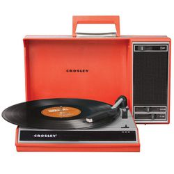 """<b>Crosley</b> USB Spinnerette Turntable, <a href=""""http://www.fredflare.com/APARTMENT-cameras-electronics-and-music/Crosley-USB-Spinnerette-Turntable/"""">$139.95</a> at the Fred Flare Holiday Pop-Up"""