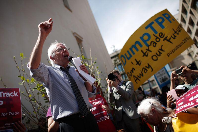 Sen. Bernie Sanders (I-VT) speaks at an anti-TPP rally. (Win McNamee/Getty Images)