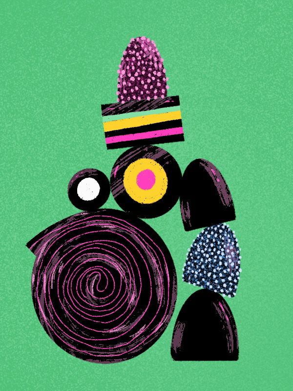 An illustration showing different kinds of black licorice against a bright-green backdrop.