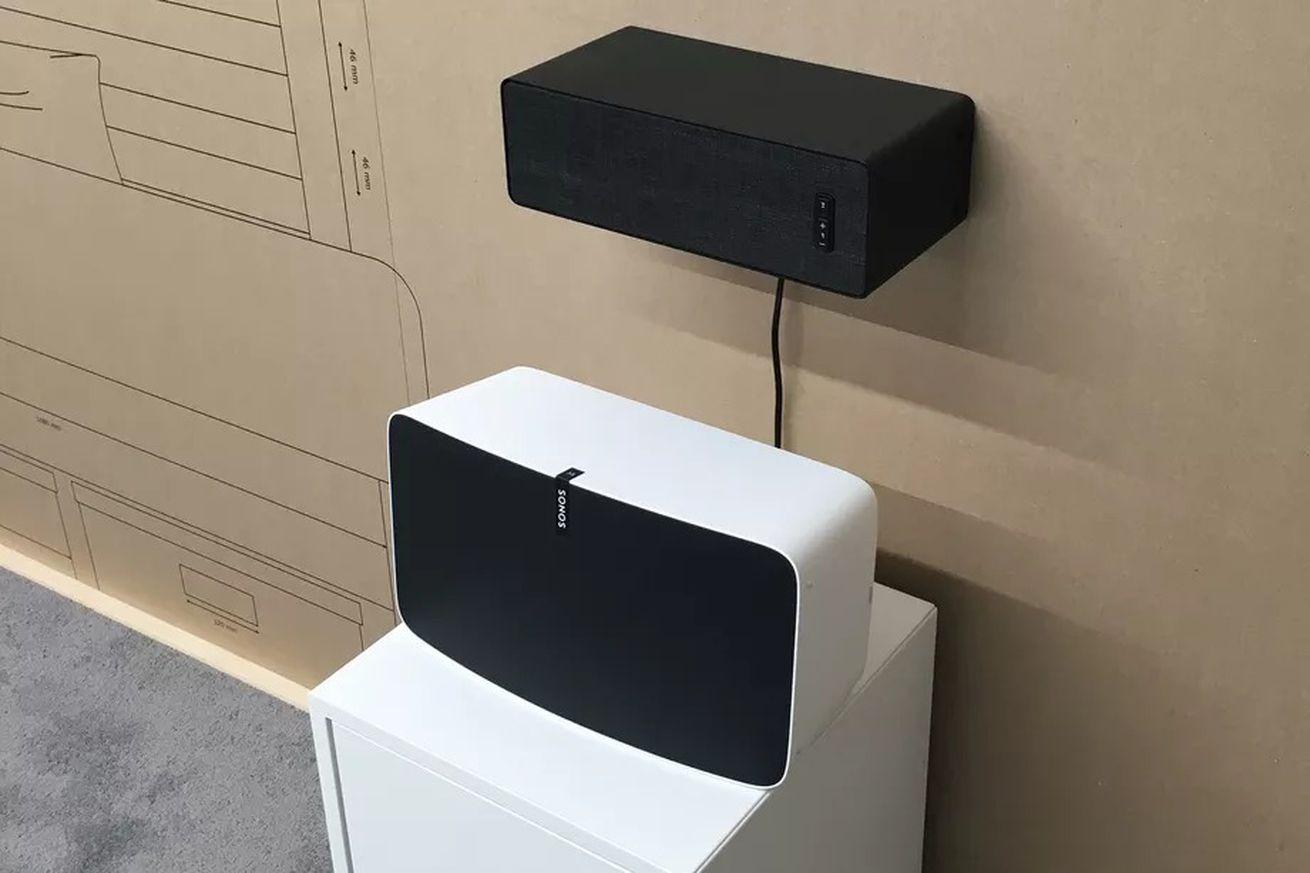 <em>Prototype Ikea speaker attached to the wall above a Sonos Play:5.&nbsp;</em>