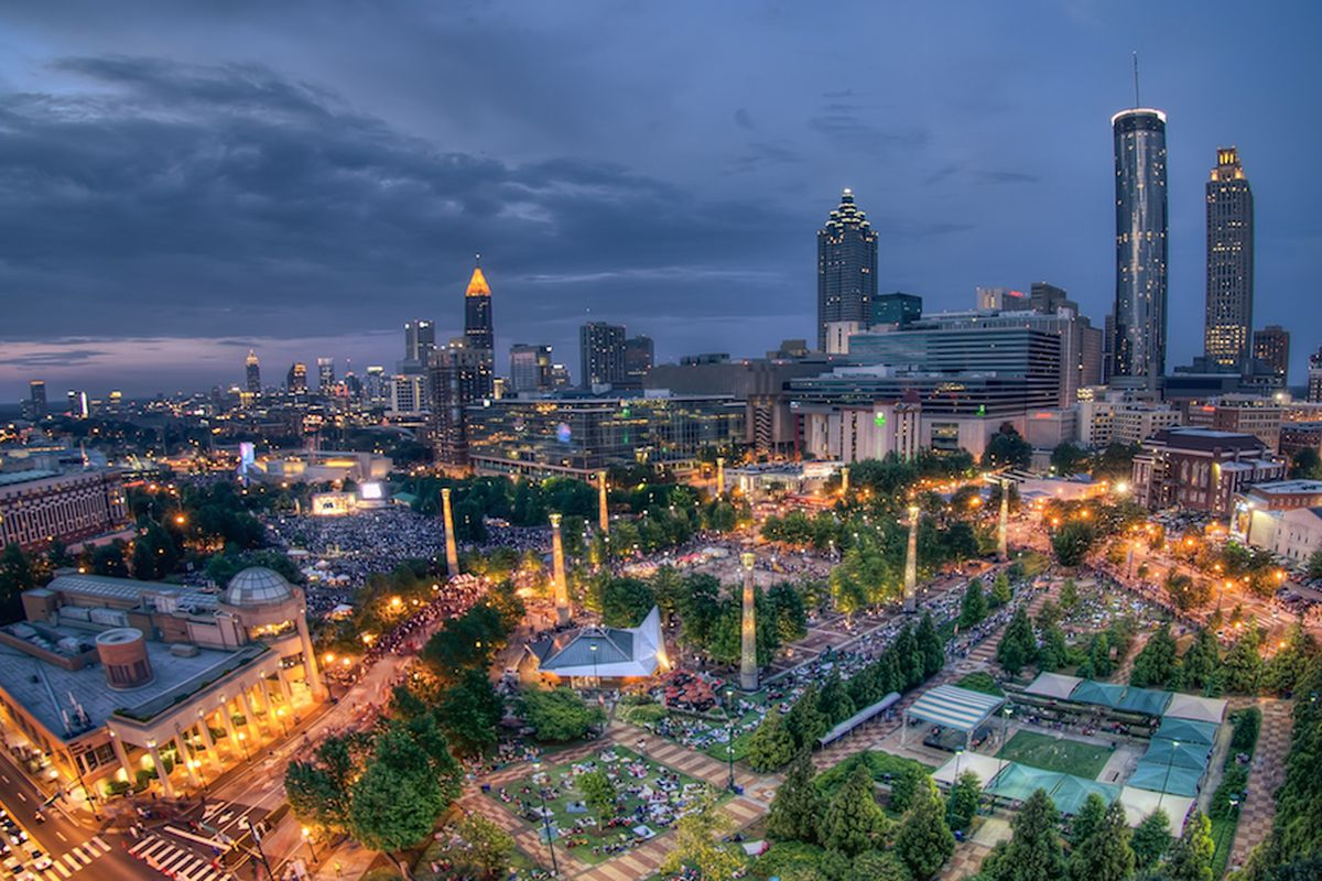 Centennial Olympic Park today, a far cry from the site's past.
