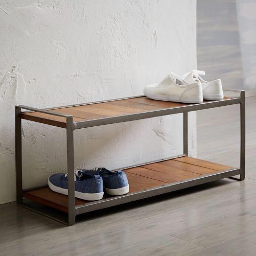 Two-tier wood and metal shoe rack.