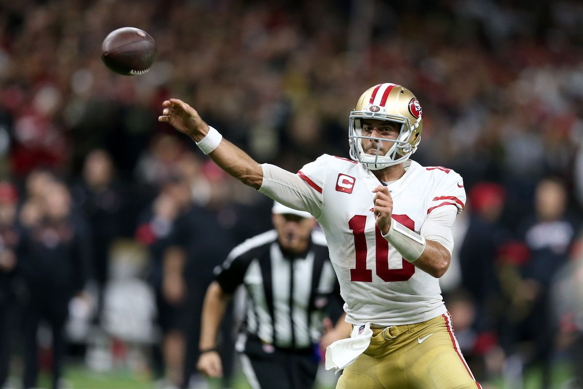 San Francisco 49ers quarterback Jimmy Garoppolo makes a throw in the second half against the New Orleans Saints at the Mercedes-Benz Superdome.
