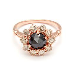 Celestine Ring in rose gold and black diamond