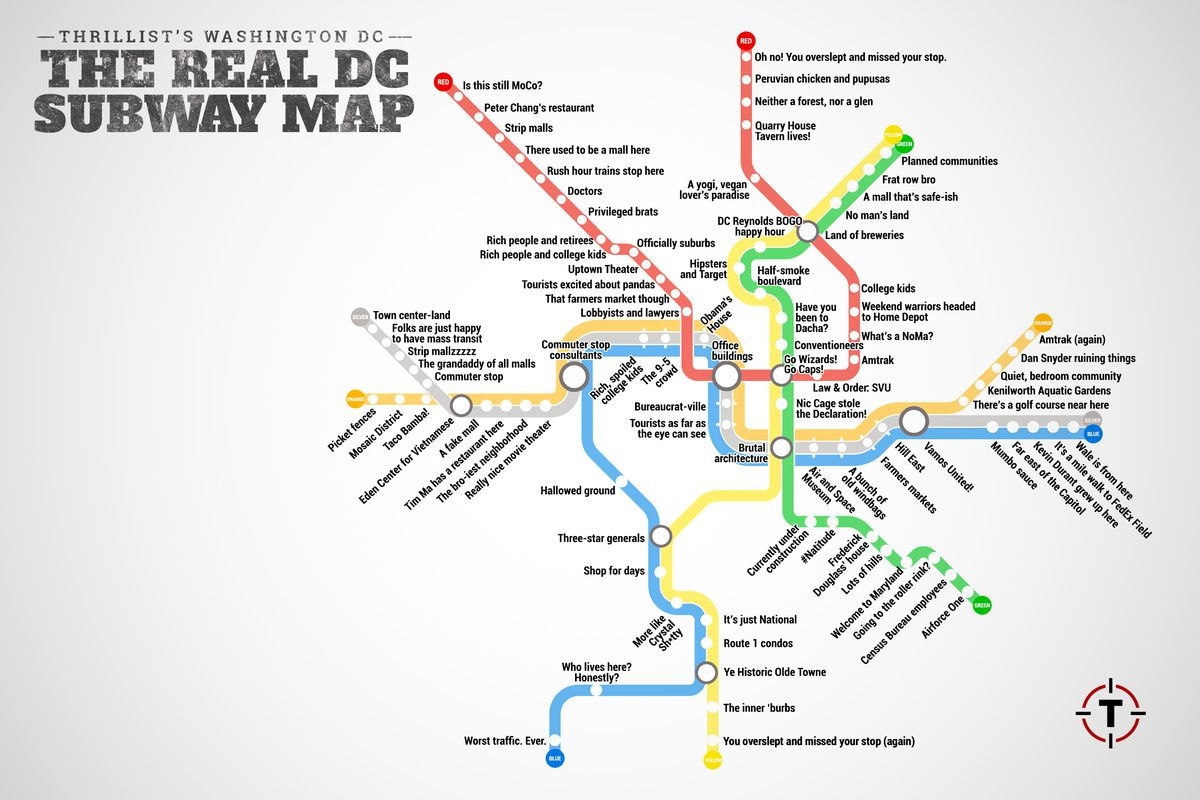 Dc Subway Map With Streets.Thrillist Just Created The Most Accurate D C Metro Map Ever Curbed Dc