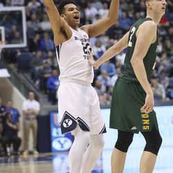 Brigham Young Cougars forward Yoeli Childs (23) attempts a 3-pointer over San Francisco Dons forward Remu Raitanen (11) in Provo on Saturday, Feb. 8, 2020.