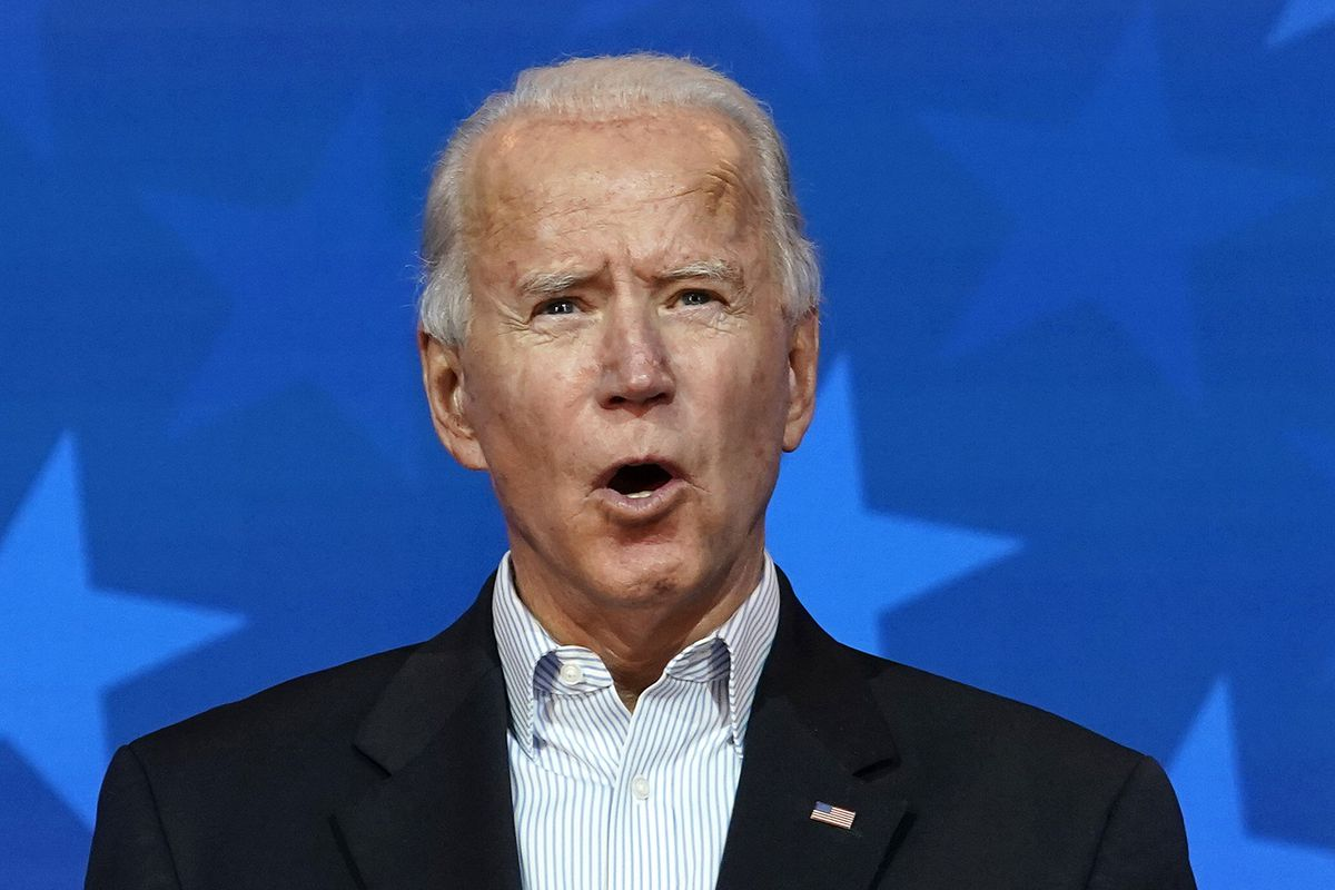 Democratic presidential nominee Joe Biden speaks at The Queen theater on November 05, 2020 in Wilmington, Delaware. Biden attended internal meetings with staff as votes are still being counted in his tight race against incumbent U.S. President Donald Trump, which remains too close to call.