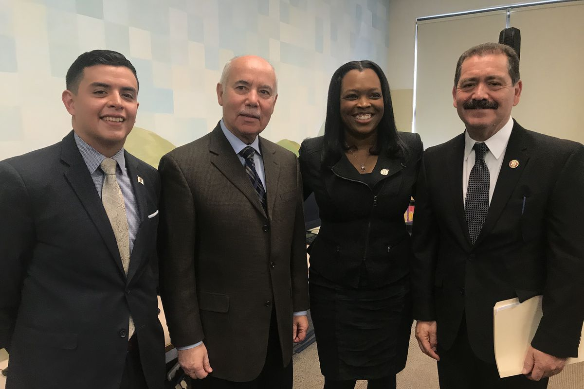 """State Rep. Aaron Ortiz, from left, Miguel del Valle, president of the Chicago Board of Education; Janice Jackson, chief executive of Chicago Public Schools; and Rep. Jesus """"Chuy"""" Garcia at a news conference in Brighton Park. February 3, 2020."""