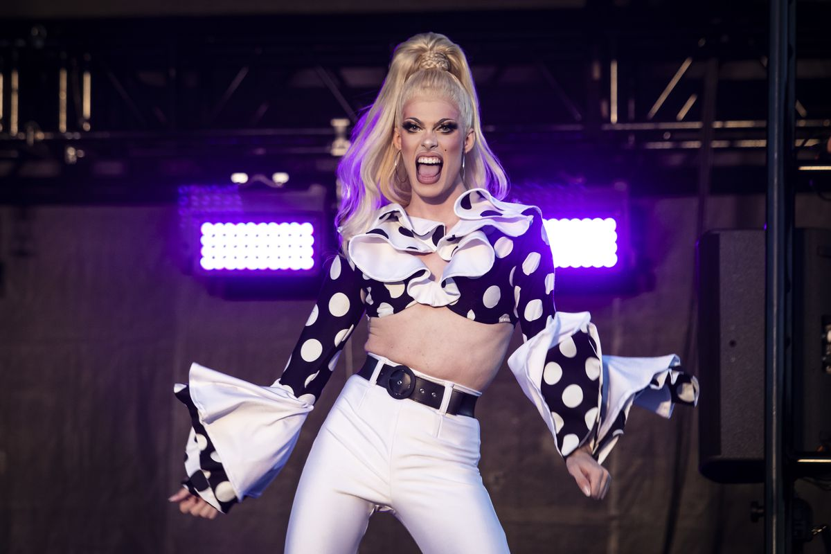Gigi Goode performs during Drive 'N Drag presented by Voss Events at Soldier Field, Friday night, Aug. 7, 2020.