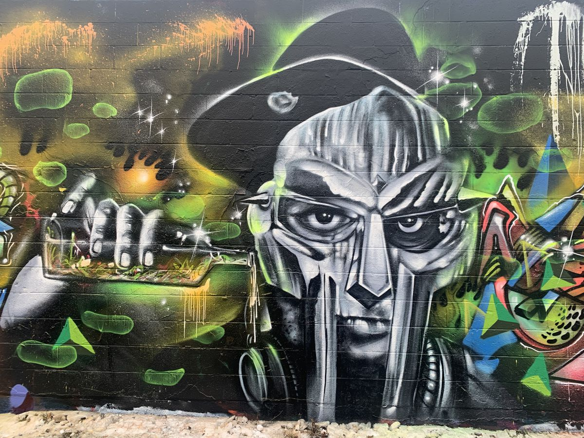 A closeup view of Chicago artist James Spurgeon's MF DOOM mural in Logan Square.