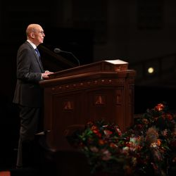President Henry B. Eyring, second counselor in the First Presidency of The Church of Jesus Christ of Latter-day Saints, speaks during the Saturday evening session of the 191st Semiannual General Conference in the Conference Center in Salt Lake City on Saturday, Oct. 2, 2021.