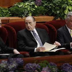 Presidents Thomas S. Monson, Henry Eyring and Dieter Uchtdorf prepare prior to the 182nd Annual General Conference for The Church of Jesus Christ of Latter-day Saints in Salt Lake City  Saturday, March 31, 2012.
