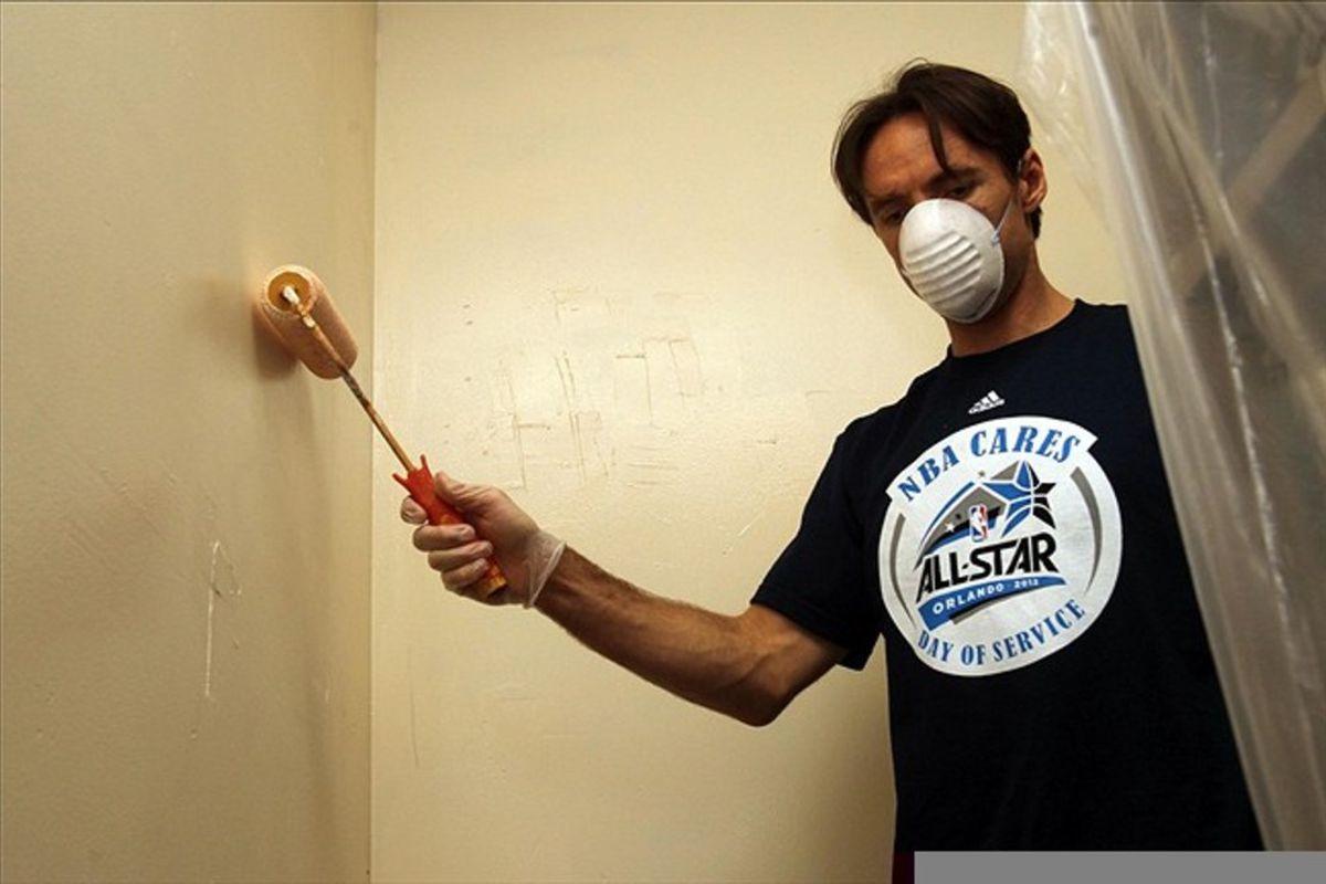 February 24, 2012; Orlando FL, USA;  Who was that masked painter?  Mandatory Credit: Kim Klement-US PRESSWIRE