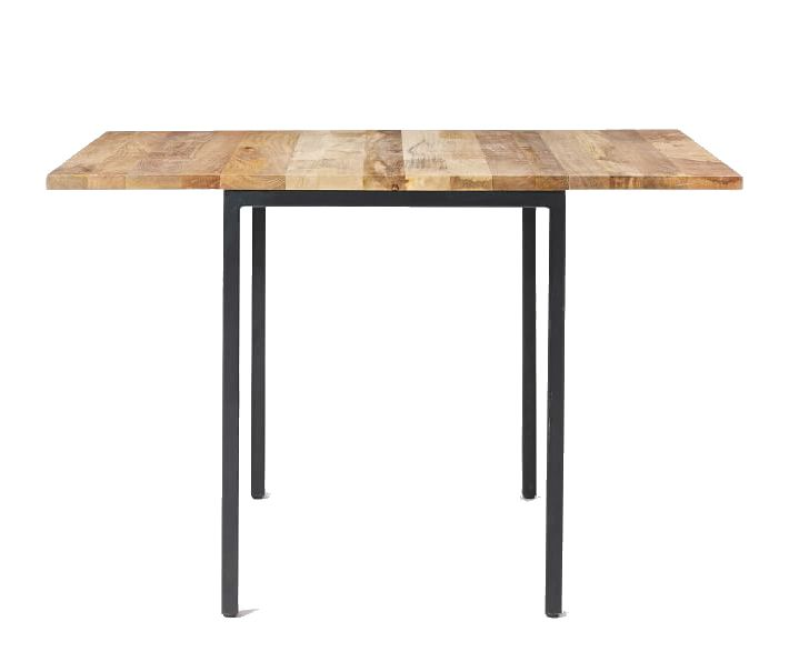 A wood and metal table where the surface expands over the legs on two sides.