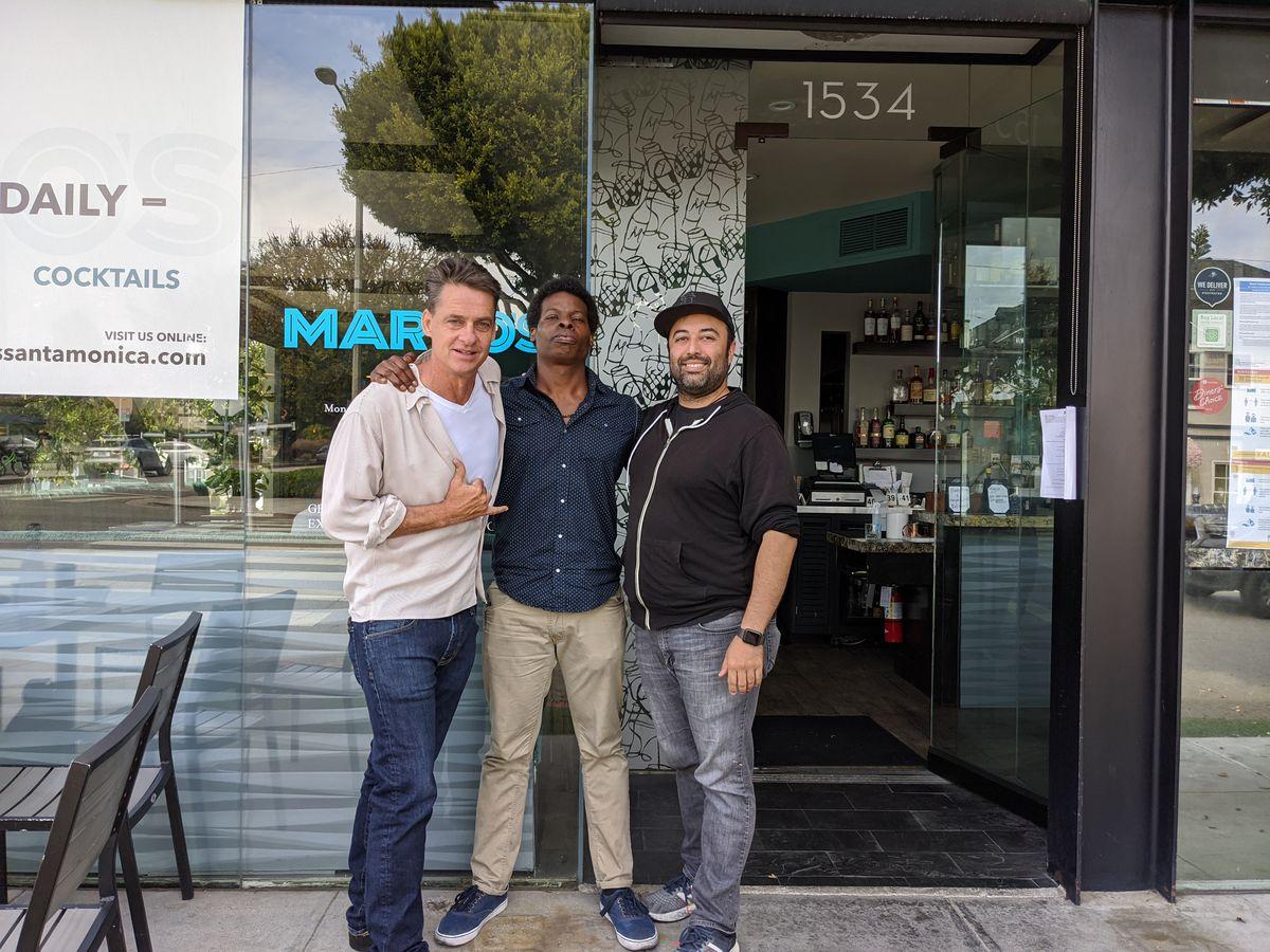 Mark Verge, Devine Johnson, and Mike Garcia in front of Margo's restaurant in Santa Monica