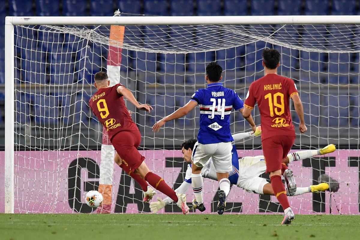 Edin Dzeko of AS Roma scores the goal of 2-1 for his side...