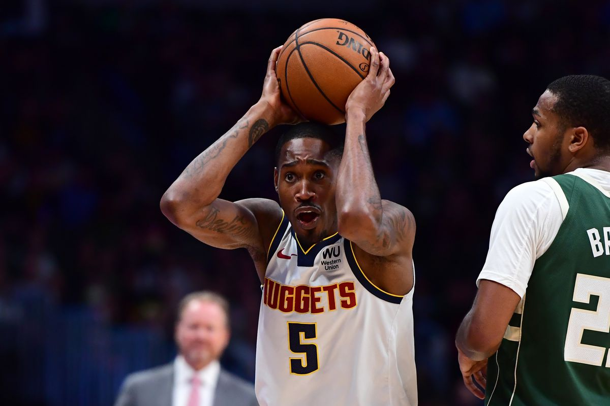Denver Nuggets forward Will Barton reacts to his ball control foul in the second half against the Milwaukee Bucks at the Pepsi Center.