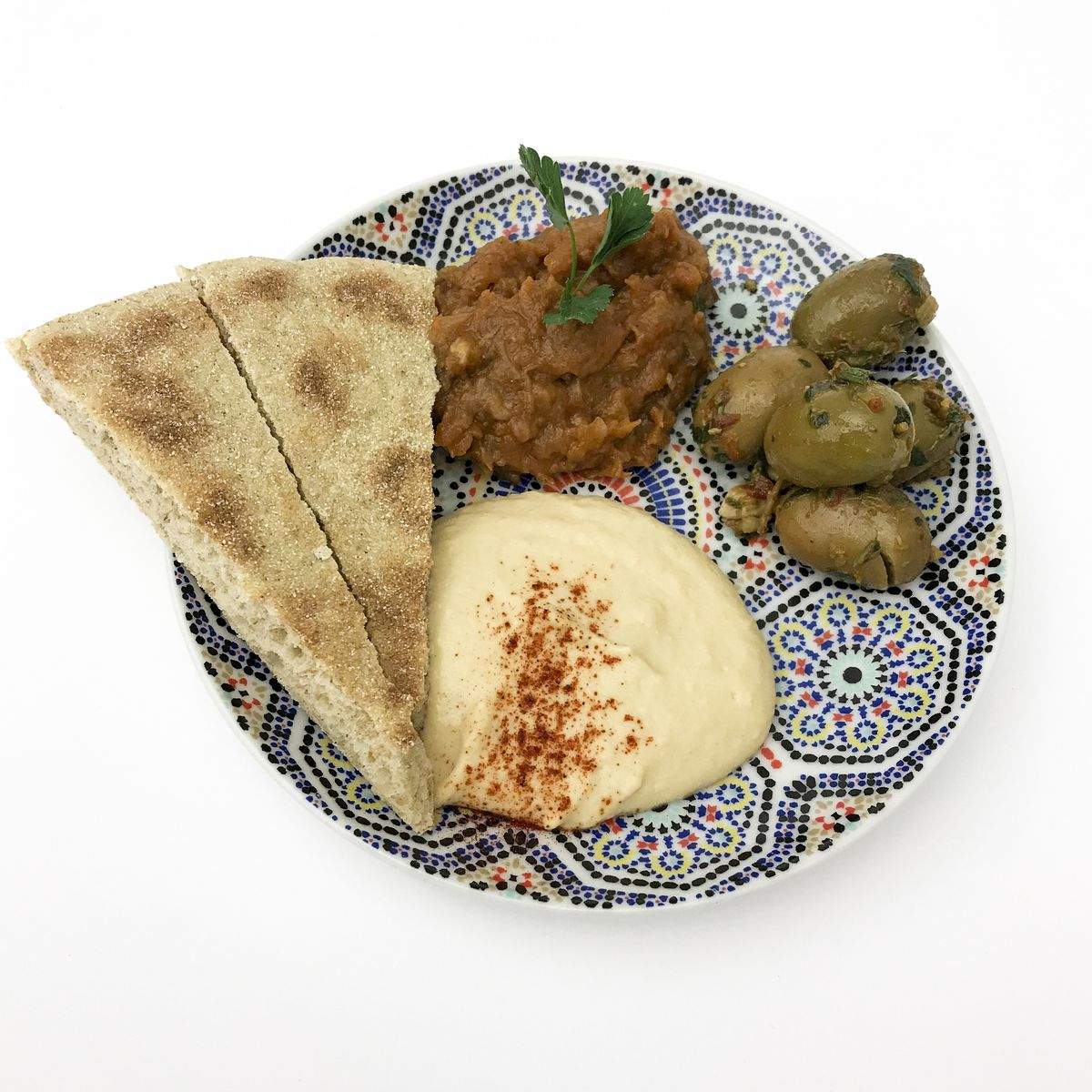 The mezze plate from Moroccan and Mediterranean food stall Marrakech Express.