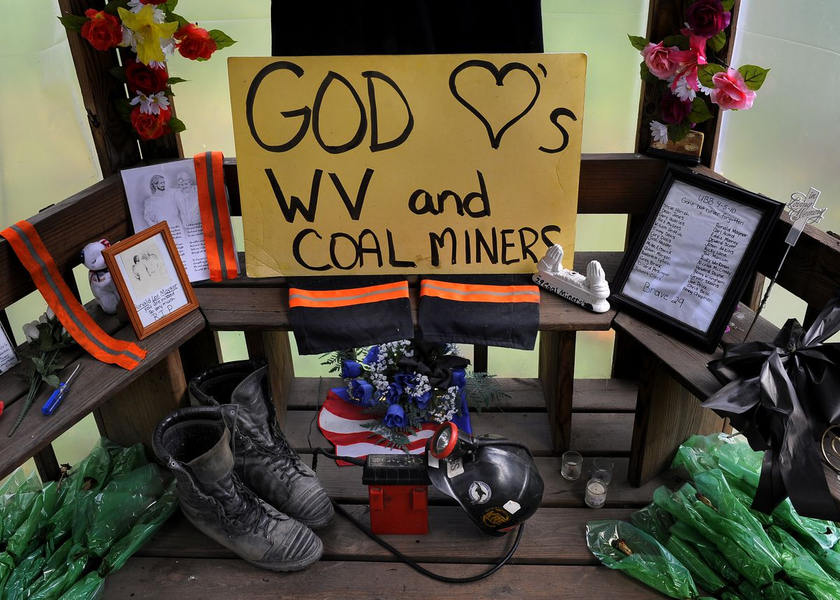 A roadside memorial that honors 29 miners who died at the nearby Upper Big Branch mine (in Montcoal, West Virginia) still stands 6 months after the accident.