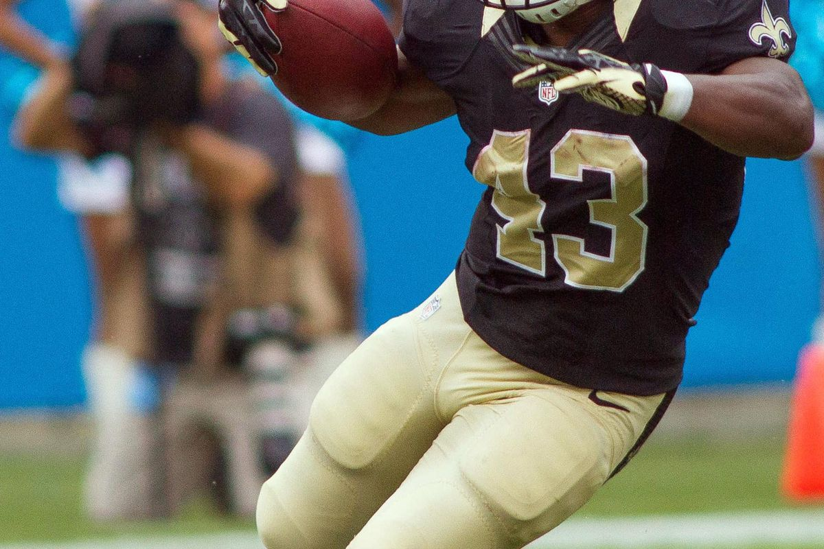 Sep 16, 2012; Charlotte, NC, USA New Orleans Saints running back Darren Sproles (43) runs the ball during the second quarter against the Carolina Panthers at Bank of America Stadium. Mandatory Credit: Jeremy Brevard-US PRESSWIRE