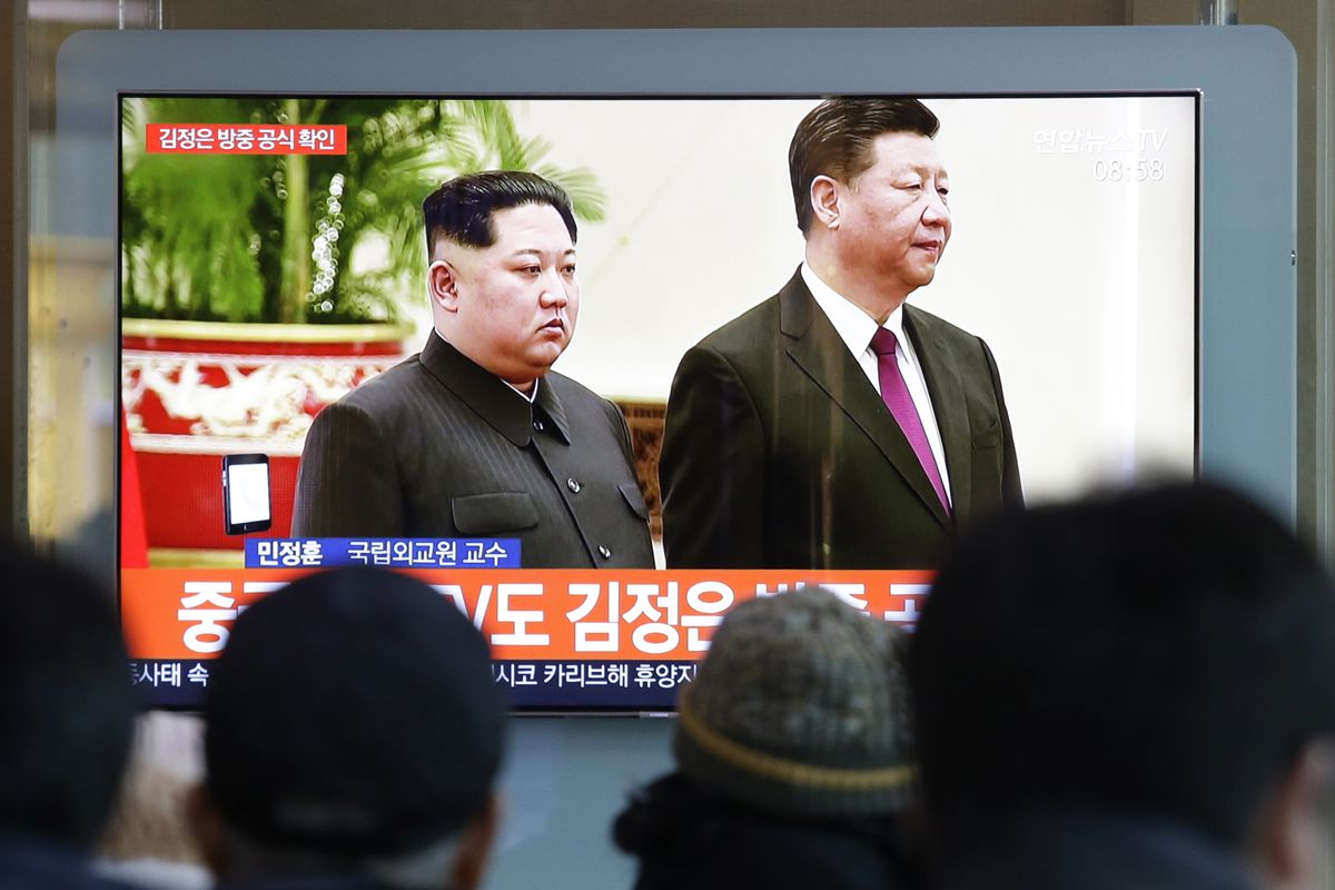 North Korean leader Kim Jong Un and Chinese President Xi Jinping meet in Beijing on January 8, 2019.