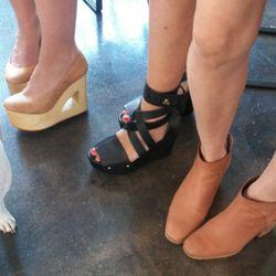 Gorgeous footwear: Kristen in TenOverSix, Brady in Acne, and Jesse wearing Rachel Comey
