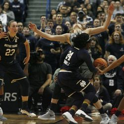 UConn's Katie Lou Samuelson (33) draws the charge from Notre Dame's Arike Ogunbowale (24) during the Notre Dame Fighting Irish vs UConn Huskies women's college basketball game in the Women's Jimmy V Classic at the XL Center in Hartford, CT on December 3, 2017.