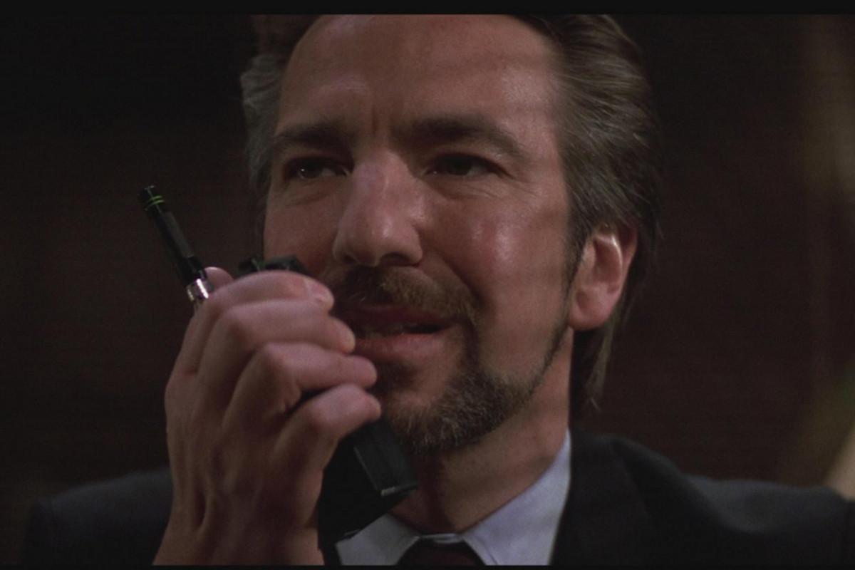 Alan Rickman as Die Hard's silvery smooth Hans Gruber.