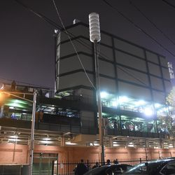 9:27 p.m. The back of the left field video board -