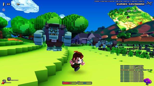 a screenshot of Cube World, showing a smaller player character running away from a large giant and/or ogre