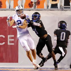Brigham Young Cougars wide receiver Neil Pau'u (2) makes a catch for a two-point conversion with Boise State Broncos safety Tyreque Jones (21) defending as BYU and Boise State play a college football game at Albertsons Stadium in Boise on Friday, Nov. 6, 2020. BYU won 51-17.