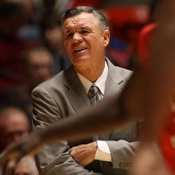 Former BYU coach Steve Cleveland, who was then coaching at Fresno State, reacts as the University of Utah and Fresno State play men's basketball Tuesday, Nov. 30, 2010, in Salt Lake City, Utah. Cleveland has been serving as an LDS mission president since July.