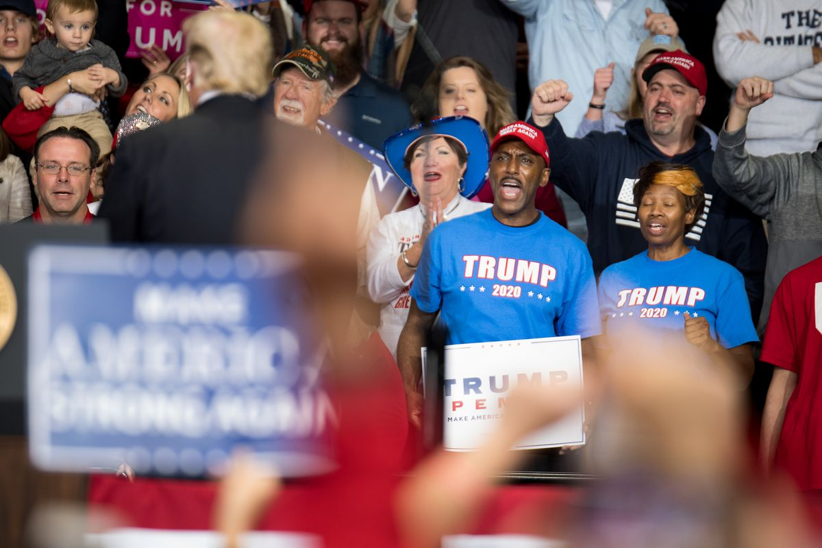 Supporters of President Donald Trump cheer on the president during a campaign rally at the Bojangles Coliseum on October 26, 2018 in Charlotte, North Carolina.