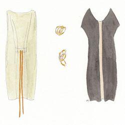 Hache dress, beige, $570. The Maggie Bracelet, brass, $172-$182. Hache dress, clay with camel stripe, $566.