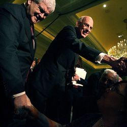 (Left) Former Speaker Newt Gingrich and Utah Senator Bob Bennett greet their fans after Bennett's campaign kickoff announcement  at the Grand America Hotel in Salt LAke City on February 3, 2010 .  Photo/Laura Seitz
