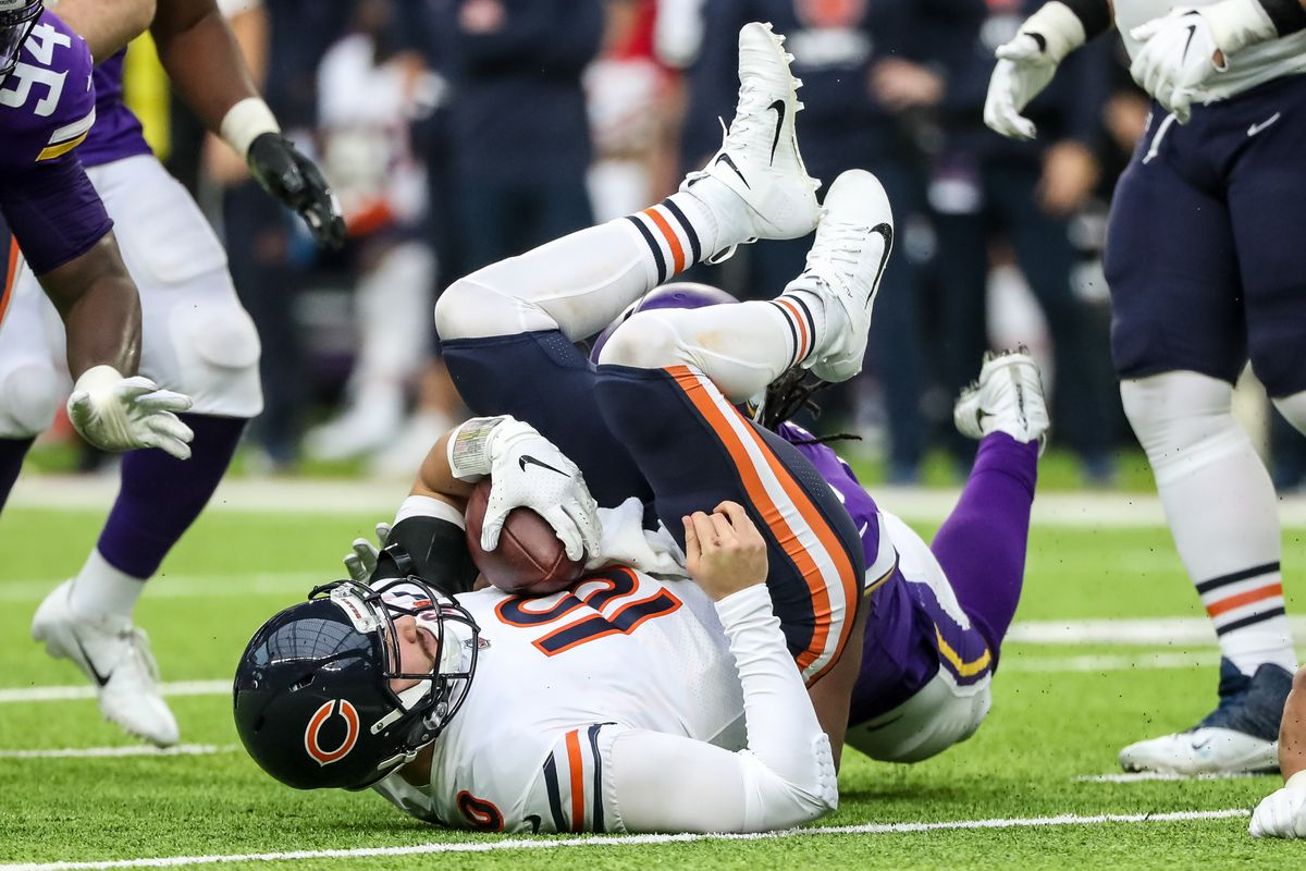 Chicago Bears quarterback Mitchell Trubisky is sacked during the second quarter against the Minnesota Vikings at U.S. Bank Stadium.