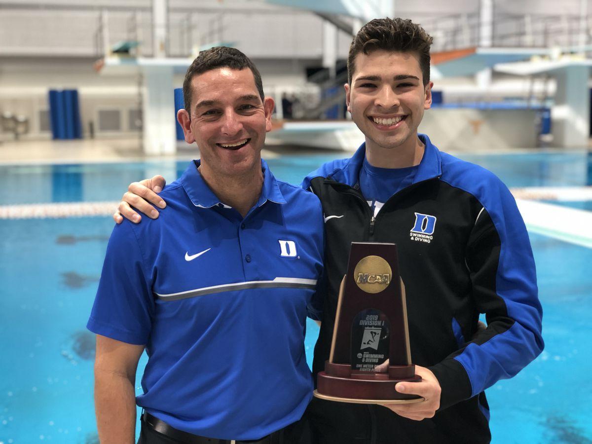 Nathaniel Hernandez with his college diving coach Nunzio Esposto.