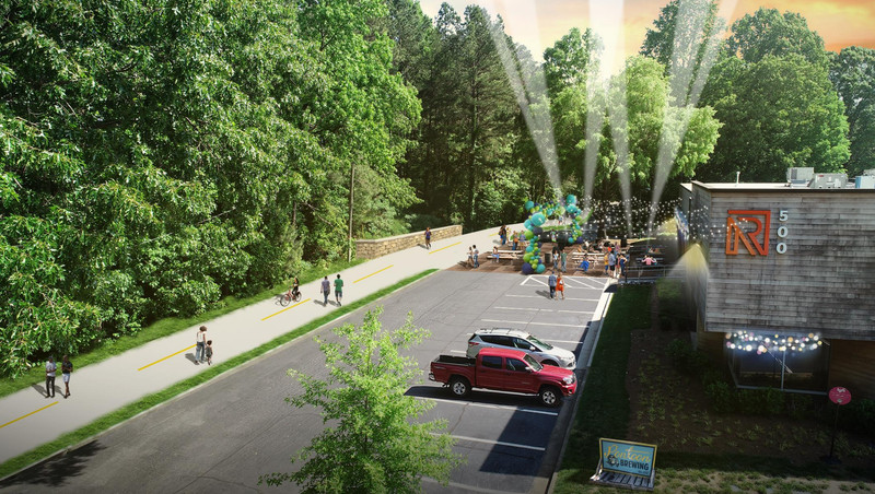 A rendering of a path running by Pontoon Brewing Company.